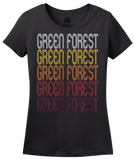 Ladies Black Green Forest, AR | Retro, Vintage Style Arkansas Pride  T-shirt