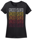 Ladies Black Green Island, NY | Retro, Vintage Style New York Pride  T-shirt