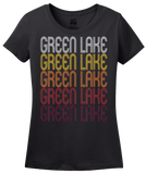 Ladies Black Green Lake, WI | Retro, Vintage Style Wisconsin Pride  T-shirt
