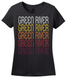 Ladies Black Green River, WY | Retro, Vintage Style Wyoming Pride  T-shirt