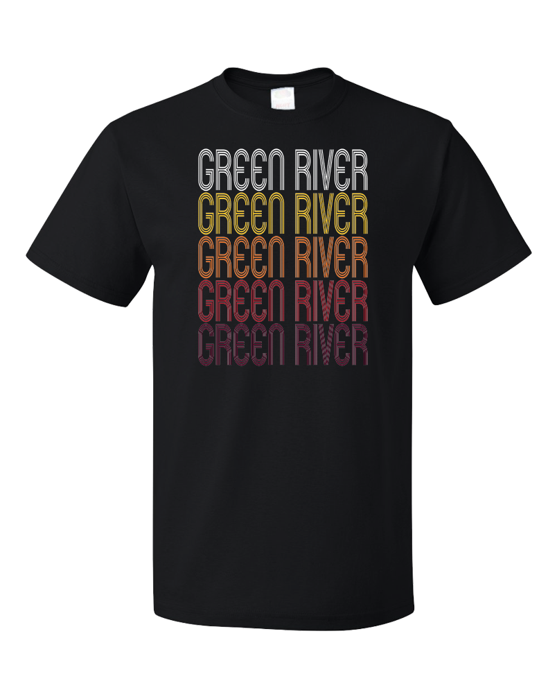 Standard Black Green River, WY | Retro, Vintage Style Wyoming Pride  T-shirt