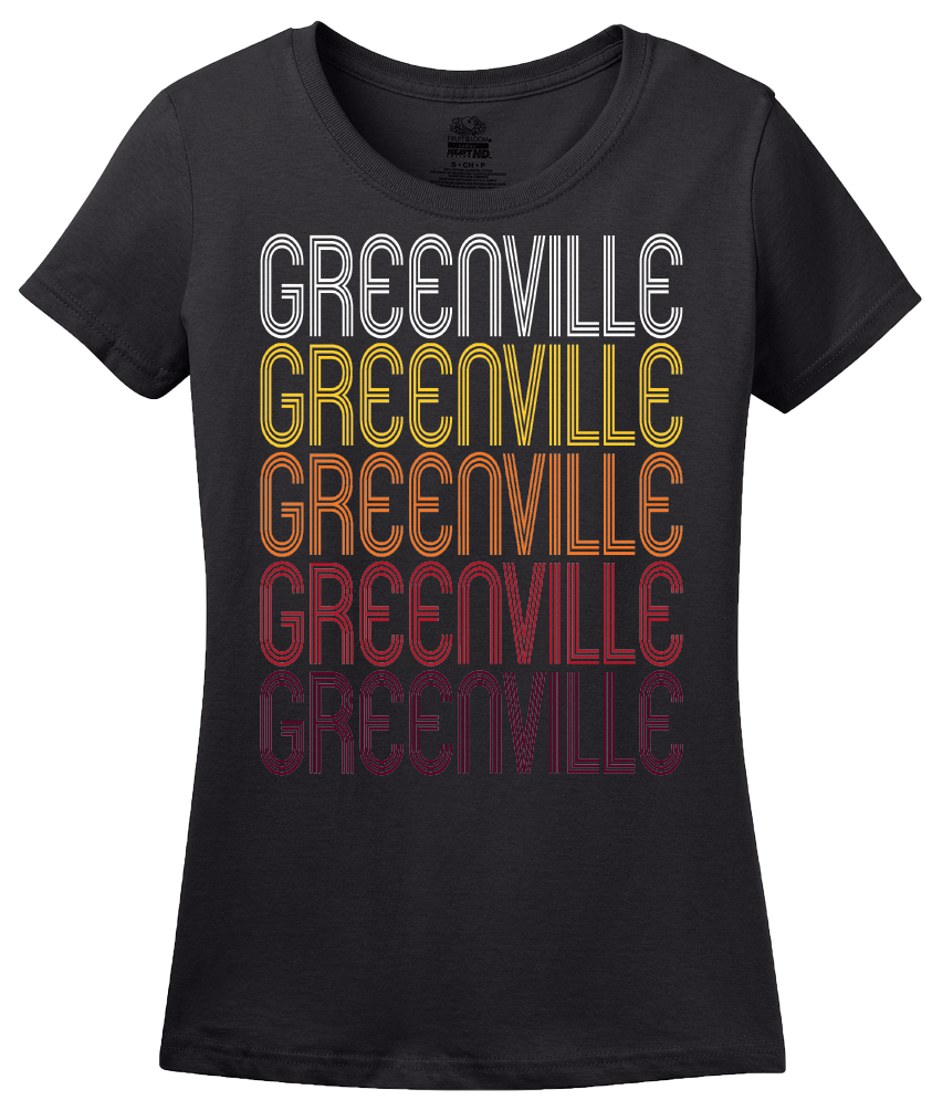 Ladies Black Greenville, MI | Retro, Vintage Style Michigan Pride  T-shirt
