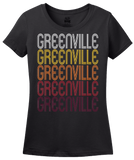 Ladies Black Greenville, MS | Retro, Vintage Style Mississippi Pride  T-shirt