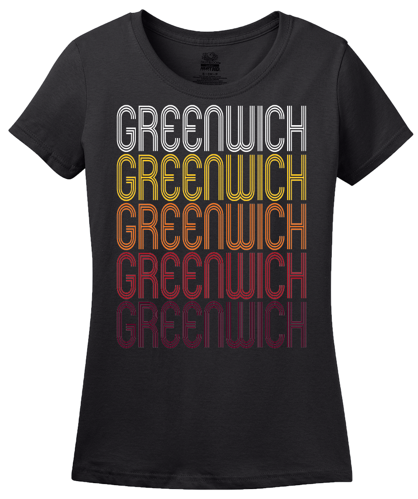 Ladies Black Greenwich, NY | Retro, Vintage Style New York Pride  T-shirt