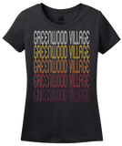 Ladies Black Greenwood Village, CO | Retro, Vintage Style Colorado Pride  T-shirt