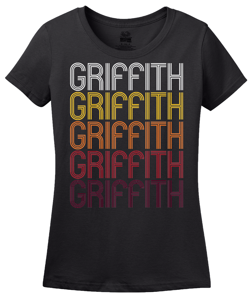 Ladies Black Griffith, IN | Retro, Vintage Style Indiana Pride  T-shirt