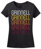Ladies Black Grinnell, IA | Retro, Vintage Style Iowa Pride  T-shirt