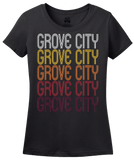 Ladies Black Grove City, PA | Retro, Vintage Style Pennsylvania Pride  T-shirt