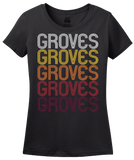 Ladies Black Groves, TX | Retro, Vintage Style Texas Pride  T-shirt