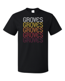 Standard Black Groves, TX | Retro, Vintage Style Texas Pride  T-shirt