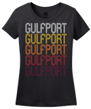 Ladies Black Gulfport, MS | Retro, Vintage Style Mississippi Pride  T-shirt