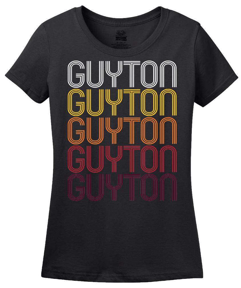 Ladies Black Guyton, GA | Retro, Vintage Style Georgia Pride  T-shirt
