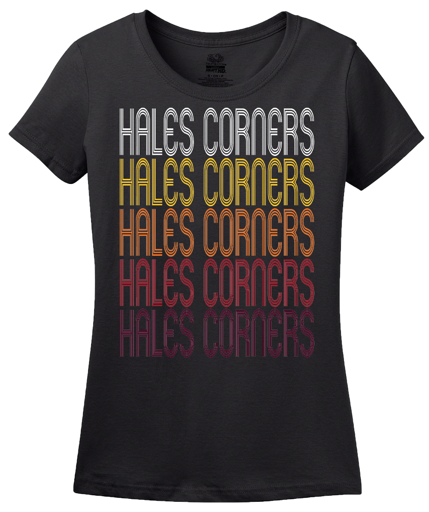Ladies Black Hales Corners, WI | Retro, Vintage Style Wisconsin Pride  T-shirt