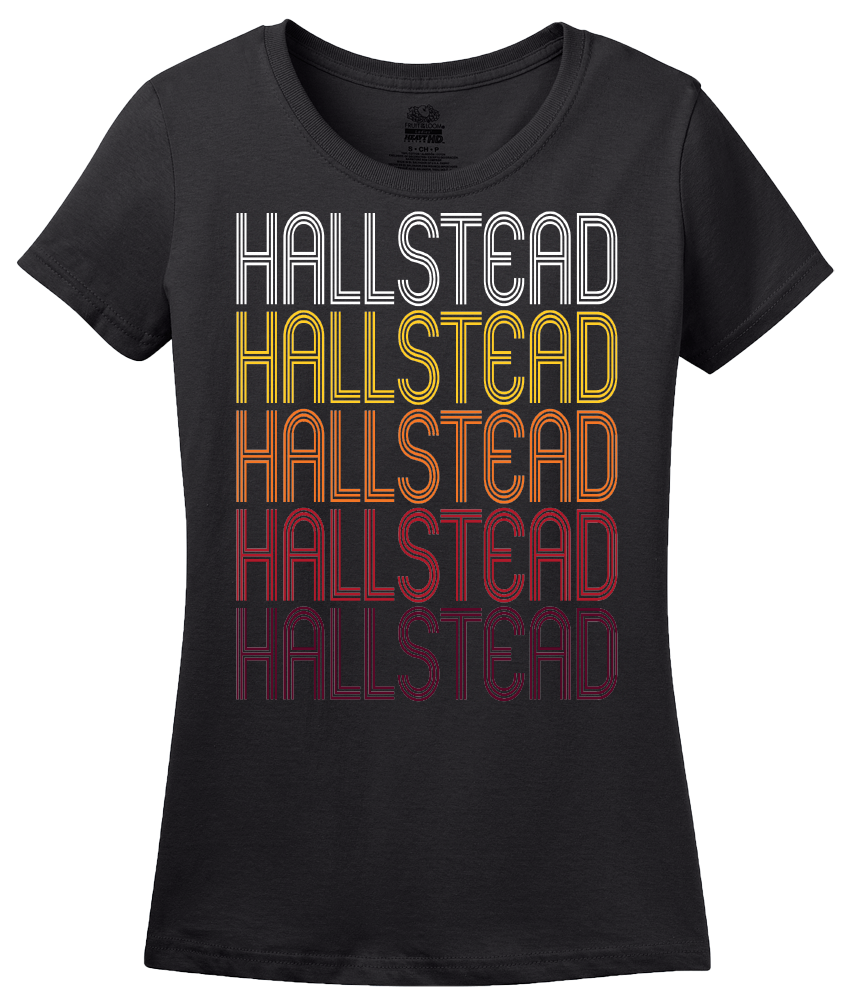 Ladies Black Hallstead, PA | Retro, Vintage Style Pennsylvania Pride  T-shirt