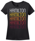 Ladies Black Hamilton, IL | Retro, Vintage Style Illinois Pride  T-shirt