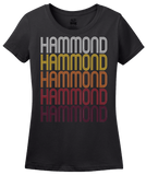 Ladies Black Hammond, LA | Retro, Vintage Style Louisiana Pride  T-shirt