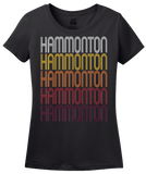 Ladies Black Hammonton, NJ | Retro, Vintage Style New Jersey Pride  T-shirt