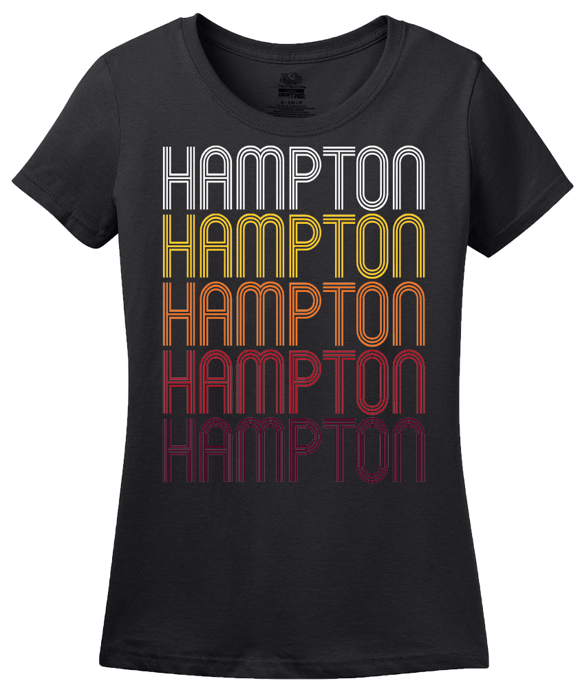 Ladies Black Hampton, IL | Retro, Vintage Style Illinois Pride  T-shirt
