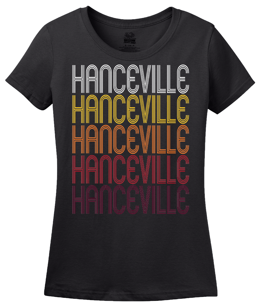 Ladies Black Hanceville, AL | Retro, Vintage Style Alabama Pride  T-shirt