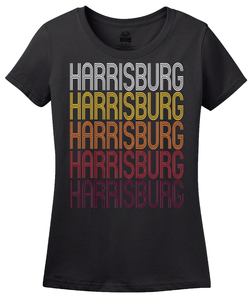 Ladies Black Harrisburg, IL | Retro, Vintage Style Illinois Pride  T-shirt