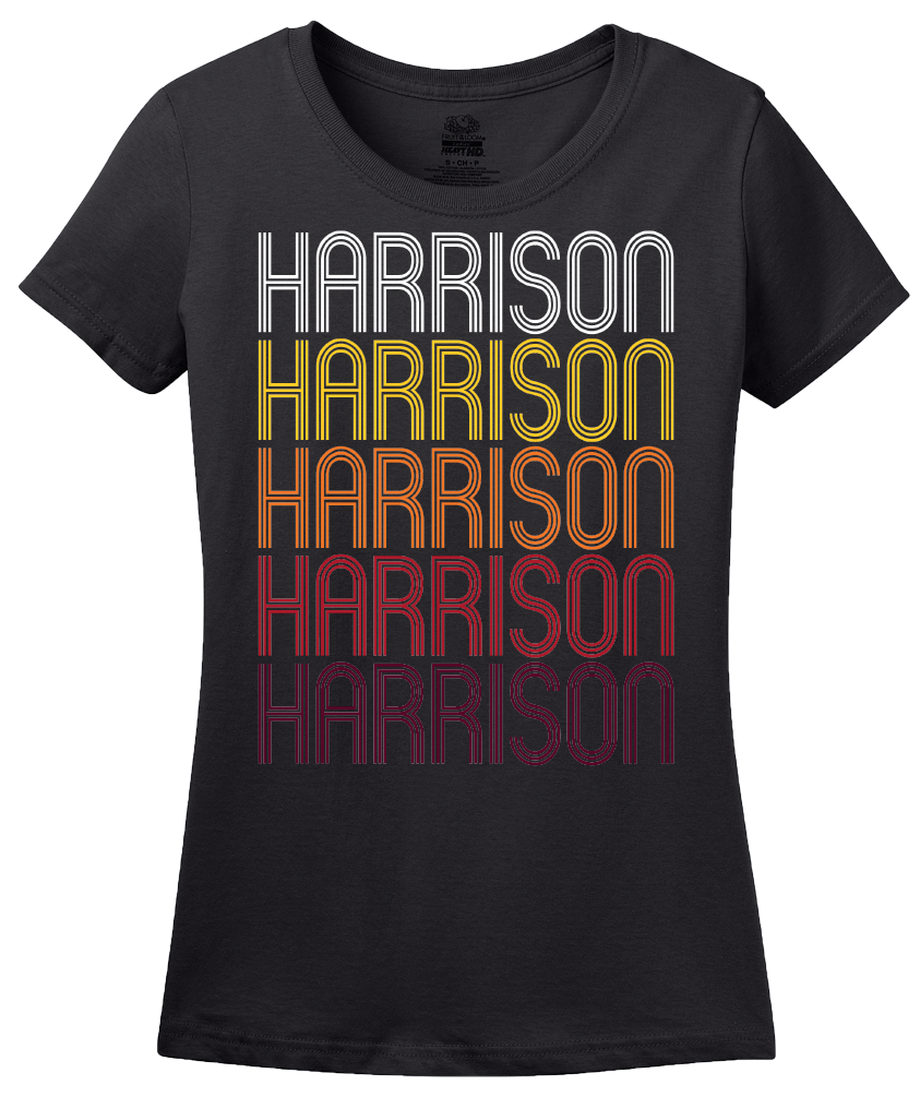 Ladies Black Harrison, AR | Retro, Vintage Style Arkansas Pride  T-shirt