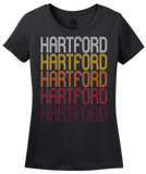 Ladies Black Hartford, IL | Retro, Vintage Style Illinois Pride  T-shirt