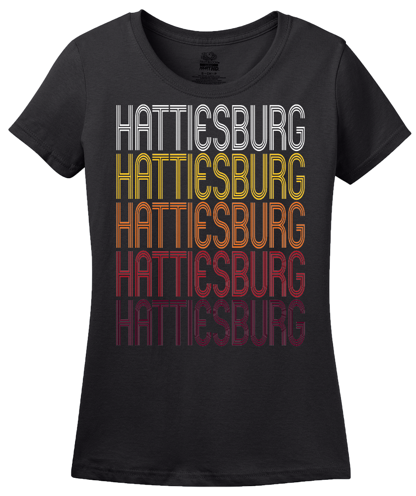 Ladies Black Hattiesburg, MS | Retro, Vintage Style Mississippi Pride  T-shirt