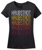 Ladies Black Haubstadt, IN | Retro, Vintage Style Indiana Pride  T-shirt