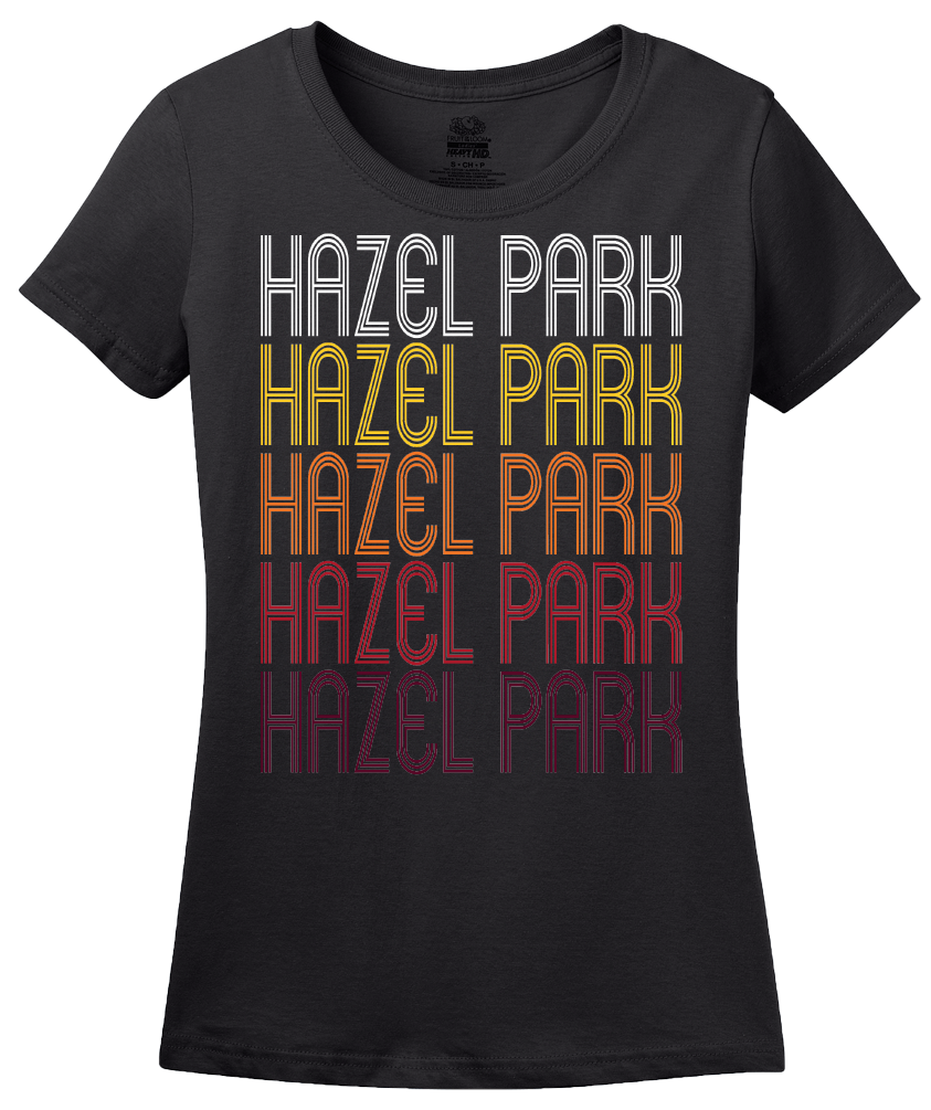 Ladies Black Hazel Park, MI | Retro, Vintage Style Michigan Pride  T-shirt