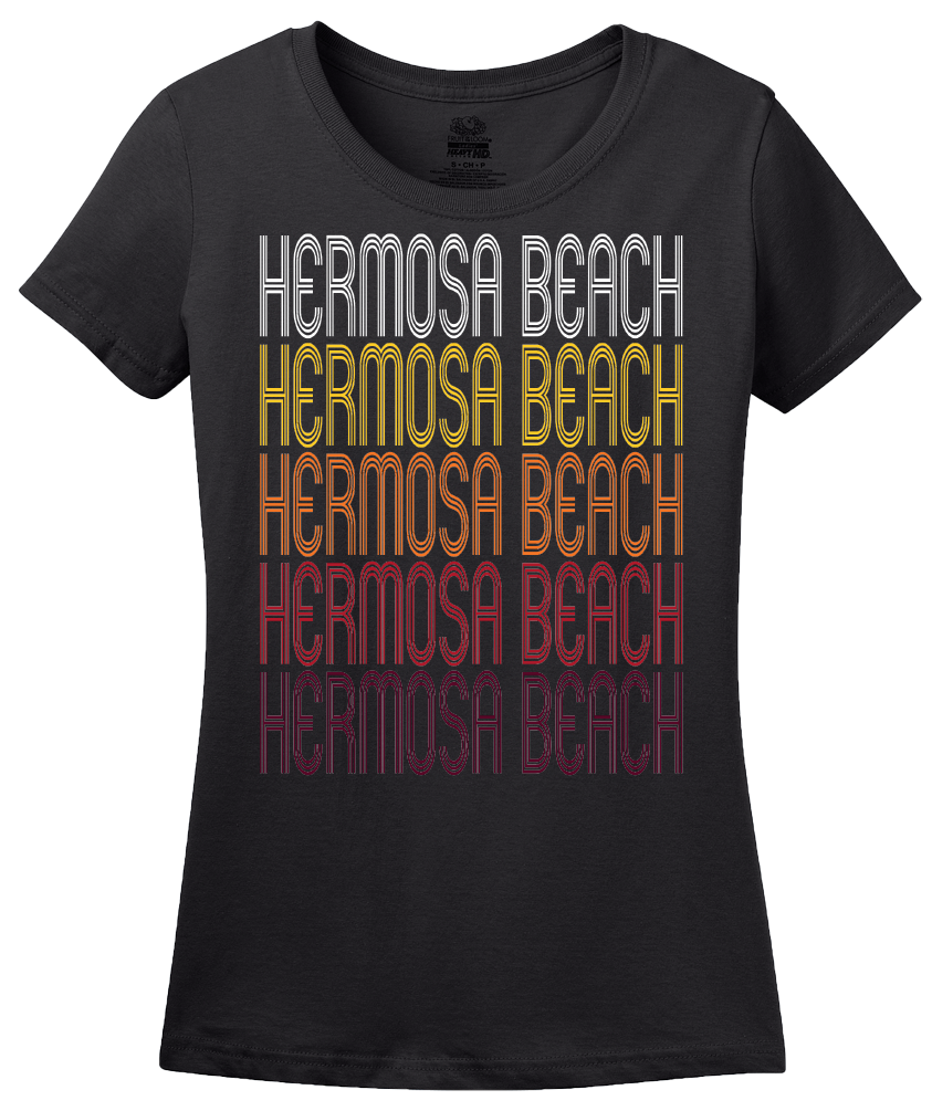 Ladies Black Hermosa Beach, CA | Retro, Vintage Style California Pride  T-shirt