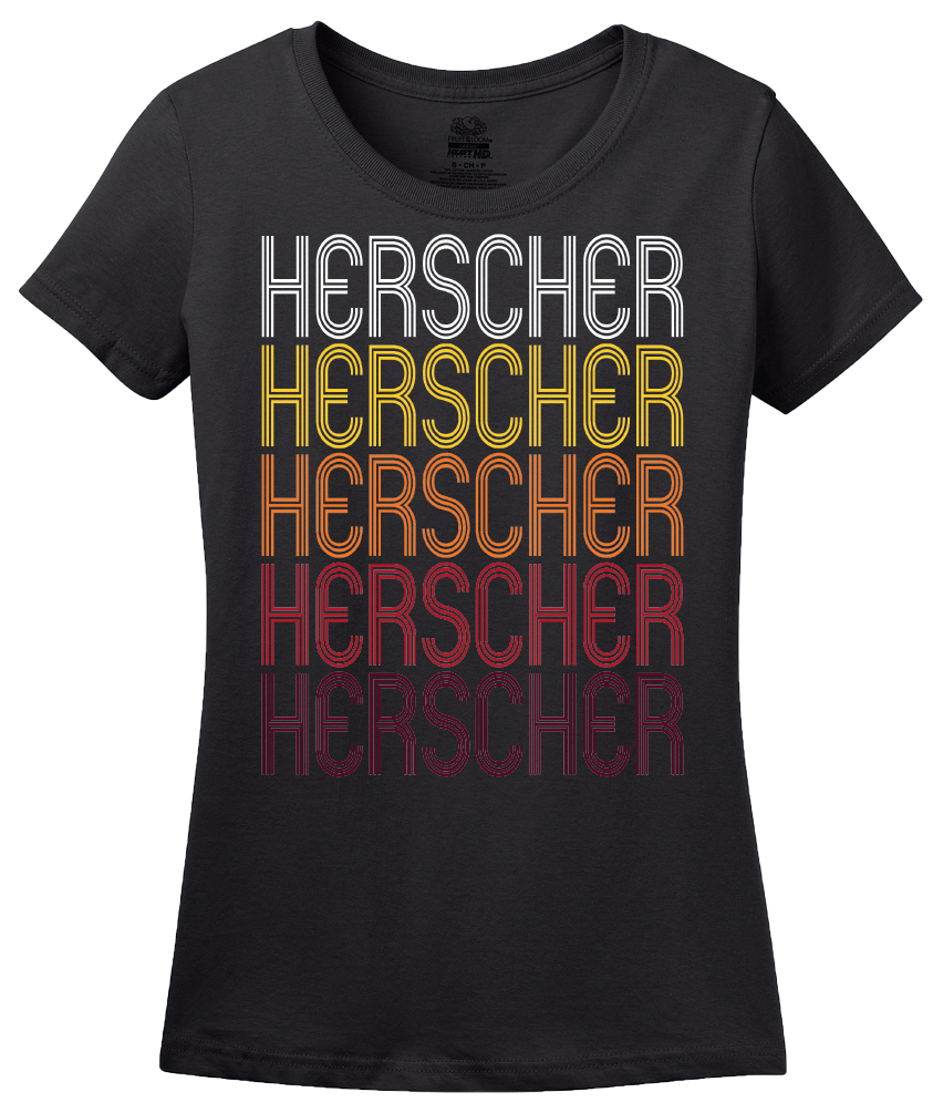 Ladies Black Herscher, IL | Retro, Vintage Style Illinois Pride  T-shirt