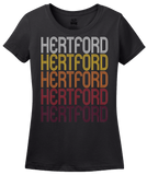 Ladies Black Hertford, NC | Retro, Vintage Style North Carolina Pride  T-shirt