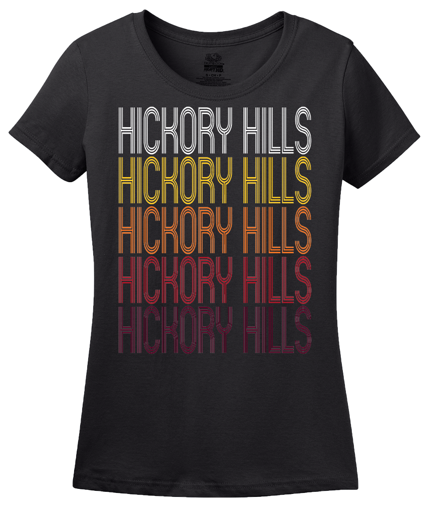 Ladies Black Hickory Hills, IL | Retro, Vintage Style Illinois Pride  T-shirt
