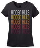 Ladies Black Hidden Hills, CA | Retro, Vintage Style California Pride  T-shirt