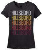 Ladies Black Hillsboro, IL | Retro, Vintage Style Illinois Pride  T-shirt