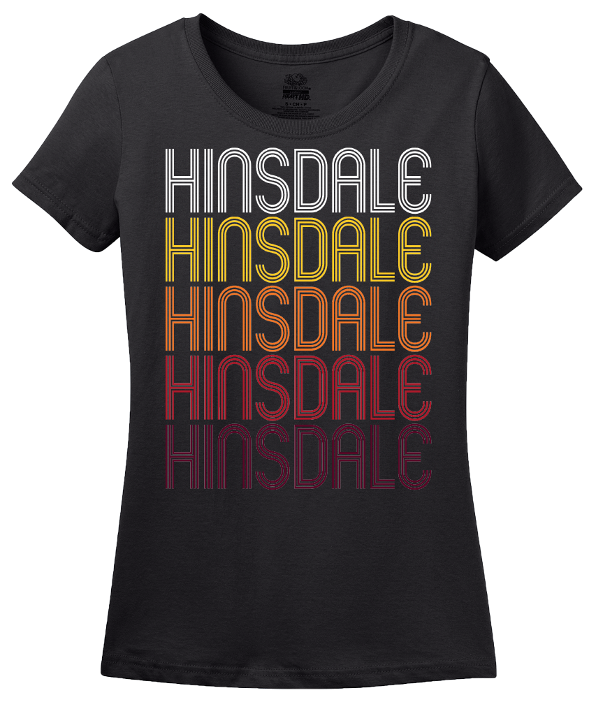 Ladies Black Hinsdale, IL | Retro, Vintage Style Illinois Pride  T-shirt