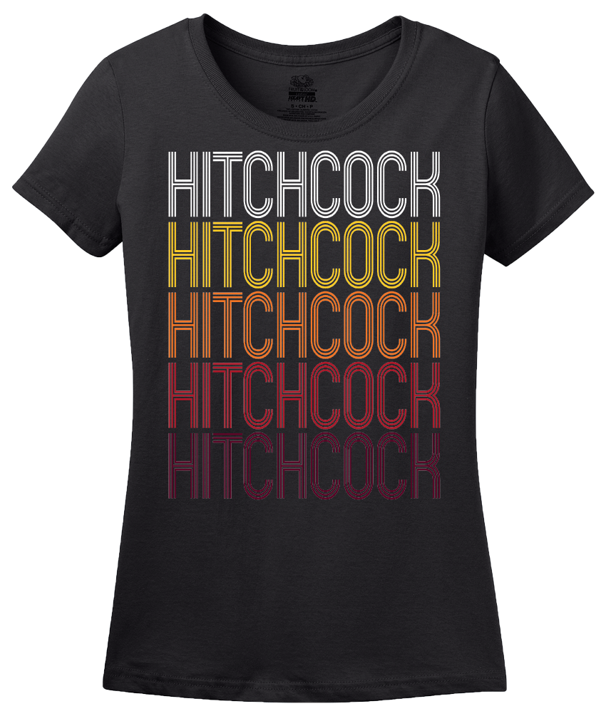 Ladies Black Hitchcock, TX | Retro, Vintage Style Texas Pride  T-shirt