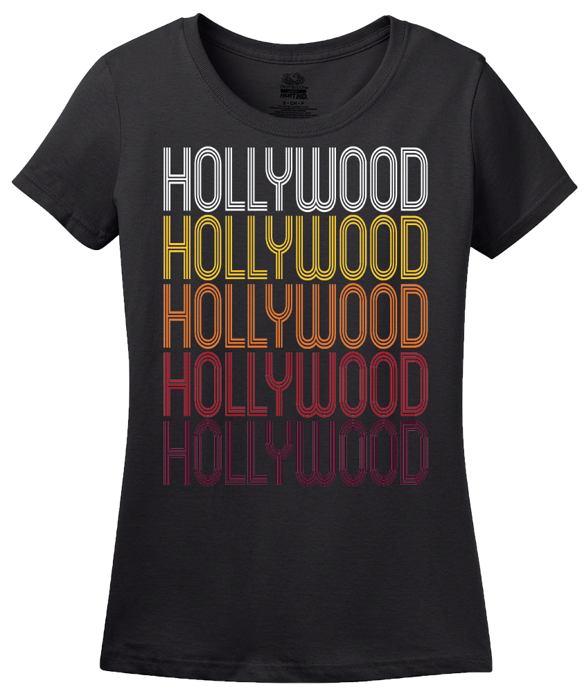 Ladies Black Hollywood, FL | Retro, Vintage Style Florida Pride  T-shirt
