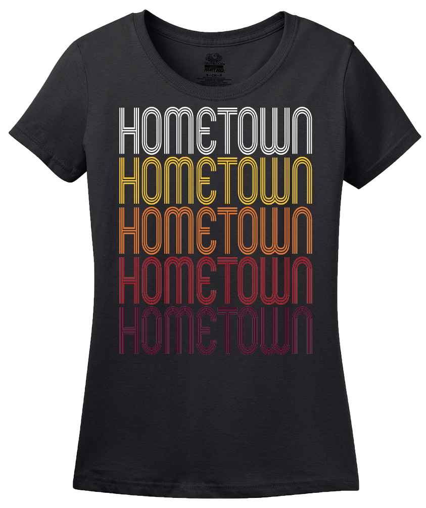 Ladies Black Hometown, IL | Retro, Vintage Style Illinois Pride  T-shirt