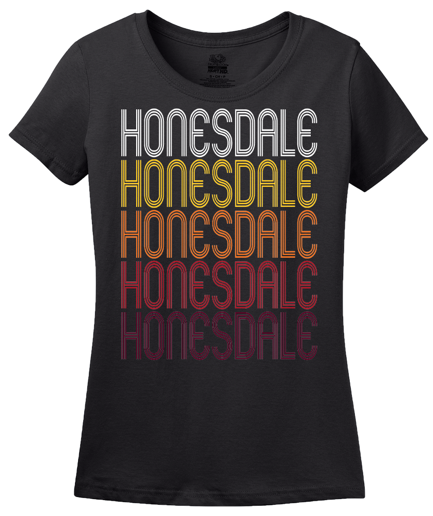 Ladies Black Honesdale, PA | Retro, Vintage Style Pennsylvania Pride  T-shirt