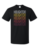 Standard Black Houghton, MI | Retro, Vintage Style Michigan Pride  T-shirt