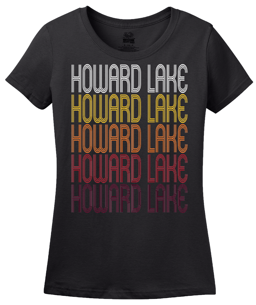 Ladies Black Howard Lake, MN | Retro, Vintage Style Minnesota Pride  T-shirt