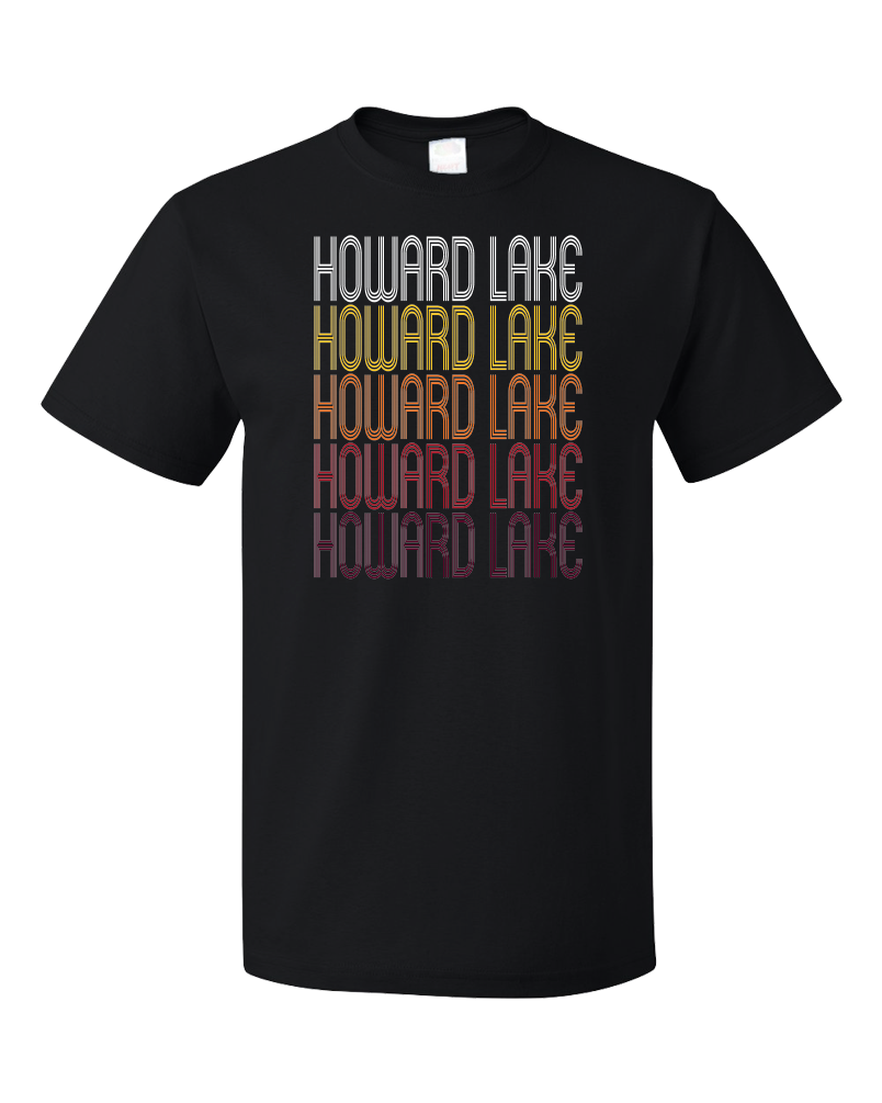Standard Black Howard Lake, MN | Retro, Vintage Style Minnesota Pride  T-shirt