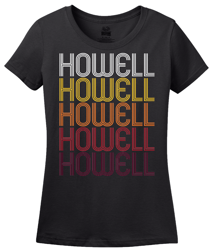 Ladies Black Howell, MI | Retro, Vintage Style Michigan Pride  T-shirt