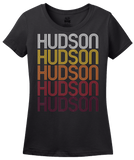 Ladies Black Hudson, IA | Retro, Vintage Style Iowa Pride  T-shirt