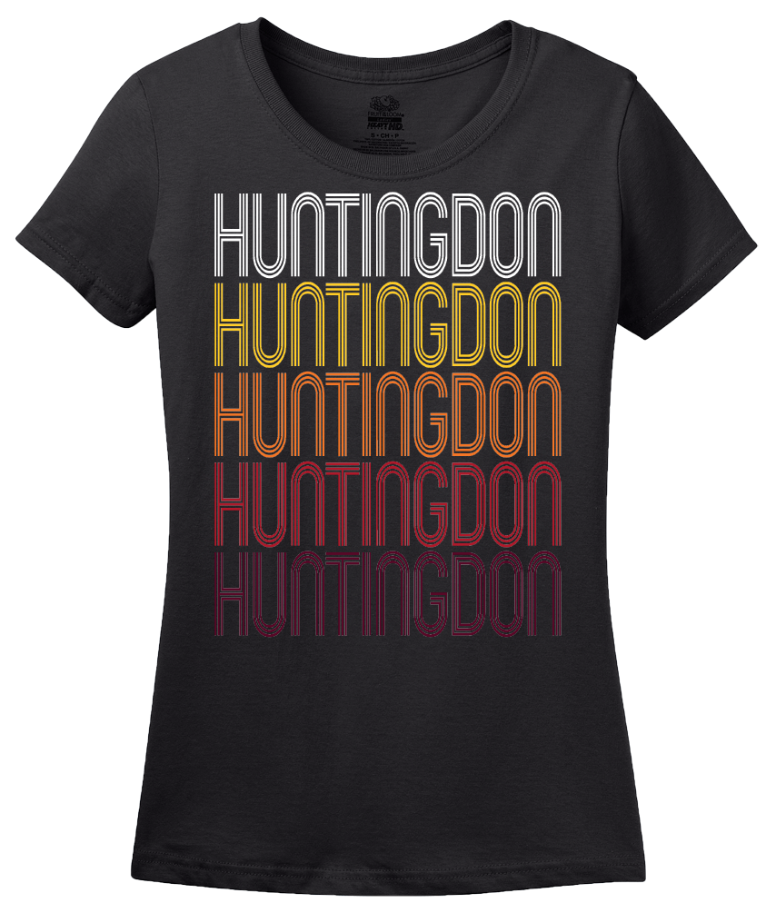 Ladies Black Huntingdon, PA | Retro, Vintage Style Pennsylvania Pride  T-shirt