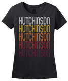 Ladies Black Hutchinson, MN | Retro, Vintage Style Minnesota Pride  T-shirt
