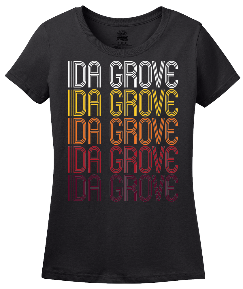 Ladies Black Ida Grove, IA | Retro, Vintage Style Iowa Pride  T-shirt