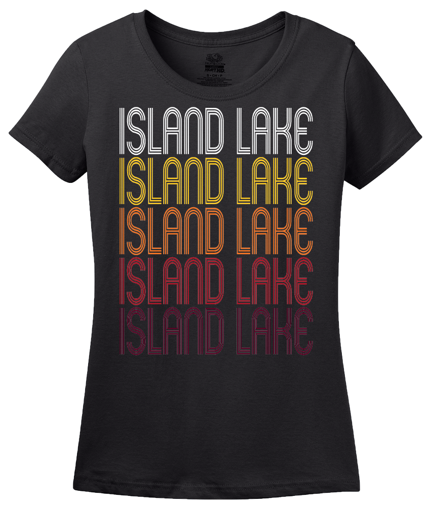 Ladies Black Island Lake, IL | Retro, Vintage Style Illinois Pride  T-shirt