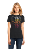 Ladies Black Ithaca, MI | Retro, Vintage Style Michigan Pride  T-shirt